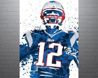 Tom Brady New England Patriots Sports Art Print, Football Poster, Kids Decor, Man Cave, Modern Art