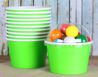 Lime Green Ice Cream Cups with Lids, Sundae Cups, Brownie Sundae Cups, Ice Cream Bowls, Candy Cups, Popcorn Cups, Treat Cups (8oz - 18 ct)