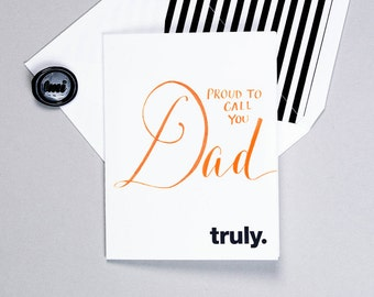 Proud to Call You Dad - Custom Calligraphy - Letterpress - Father's Day From Daughter From Son Grandfather's Day