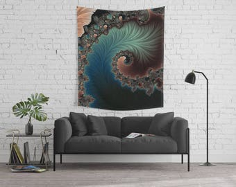 Fractal Polyester Wall Tapestry, Sacred Geometry Fractal Interior Decor, Mandelbrot Home Wall Hanging, Festival Beach Blanket,FREE SHIPPING!