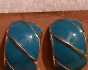 Pierced Earrings Silver Tone with Faux Turquoise