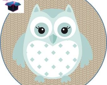 1 cabochon clear 25 mm OWL theme
