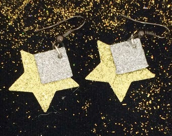 Dangling gold and silver glitter stars