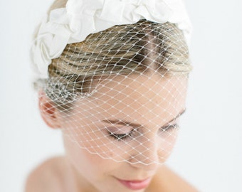 "Birdcage Wedding French Netting Headpiece - ""Chloe-Birdcage"""