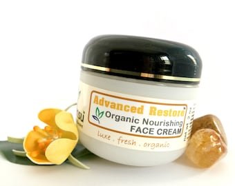 Advance Restore™ Organic Argan Oil Nourishing Face Cream for Sensitive Skin | Gem Infused | Green Tea Extract | Vegan | No Gluten - 2 oz