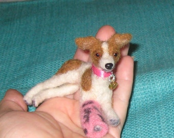 Needle Felted Dog / Custom Pet Portrait / Your Dog in Miniature / Poseable / example Italian Greyhound  small size