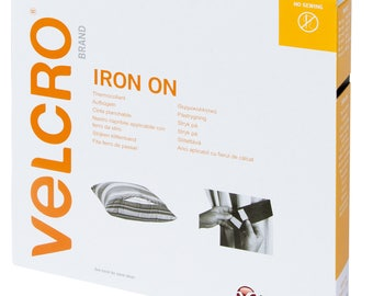 Velcro Iron-On Hook & Loop Tape 20mm Wide - White - Sold in 50cm lengths