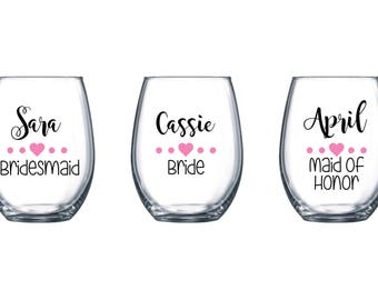 7 Bachelorette Stemless WineGlass / Personalized Wine Glasses Wedding Favor / Wine Glasses Bachelorette Party / Bride Wine Glass Stemless
