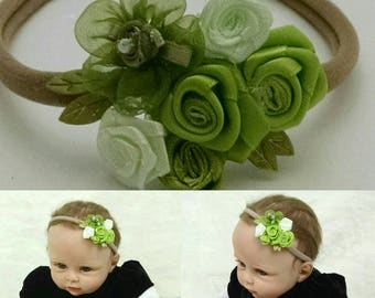 Green bouquet baby headband, newborn headbands, Infant, baby shower gift, for baby, baby photoprops, hair Accessories