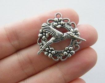 BULK 20 Humming bird toggle clasps antique silver tone FS89