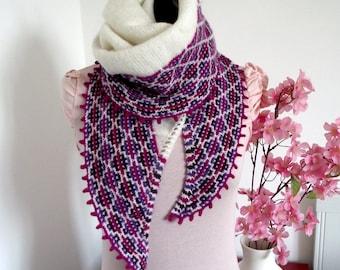 KNITTING SHAWL PATTERN - Andean Feeling Shawl - mosaic knitting, knit shawl pdf pattern easy knitting pattern easy shawl knitting