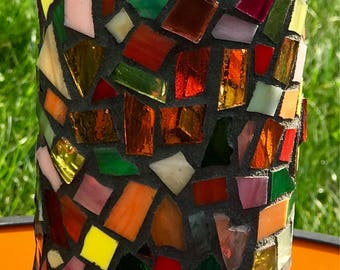 Stunning Stained Glass Mosaic Vase or Pillar Candle Holder
