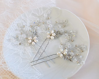 Bridal Hair Pins, Wedding Head Piece, Rose Gold hair Piece, Crystal headpiece, Rhinestone Hair Pins, Bridal Hair Jewelry, Wedding Hair Comb