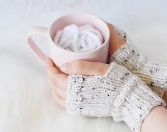 Knit Fingerless Gloves // Knit Texting Gloves // Tweed Fingerless Gloves // Knitted Wristwarmers // Knitted Handwarmers // Knit Gloves