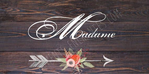 """Panneau mariage Baptême Bohème nature campagne """" Madame """"  flèche fleur watercolor aquarelle"""