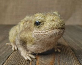 Needle Felt Toad, Needle felt animals, Toad gift, Nature decor, Fall decoration, Nature table, Prince Toad