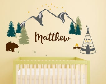 Personalized Name Decals Boho Wall Decor Wall Decal, Personalized  Boys Room, Nursery Wall Decal  Wall Sticker, Baby Room, Hunting Decor