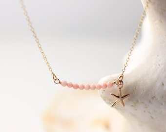 Starfish Necklace, Soft Pink Coral Gold Necklace, Coral Pearl Row Necklace, Small Gold Starfish Necklace, 14k Gold Filled Charm and Chain