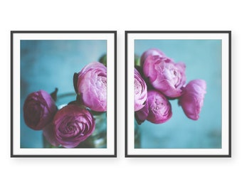 """Botanical Print Set - Pink and Blue Wall Art - Ranunculus Flowers - Bedroom Decor - Set of Two Prints Cottage Chic """"Ranunculus Two"""""""