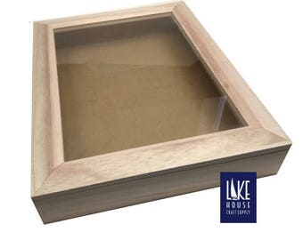 Bare Wood Shadow Box with Hinged Glass Top. Plain Wood Shadowbox With Hinged Glass Top. Lake House Craft Supply