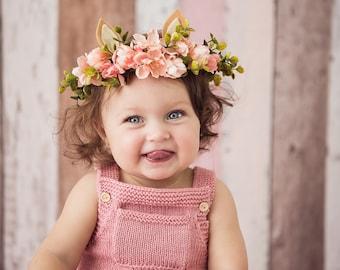 Baby Deer Photoprop, Woodland Floral Crown, Blush Silk Flower Headband, Baby Headband, Flowergirl Hairpiece, Bohemian Baby, Boho Accessory