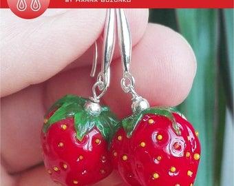 Wild strawberry murano glass earrings. Already on sale!