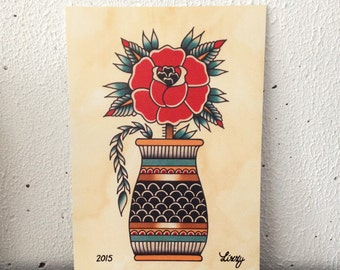 Tattoo Flash Art Print Rose
