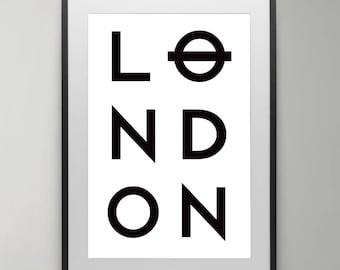 London wall art, London, Instant Download, Scandinavian poster, Black and White, Art Print, Home decor, London Wall Art, Typography Poster.