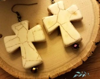 Cross earrings, white howlite stone cross earrings, Christian gift, Christian jewelry