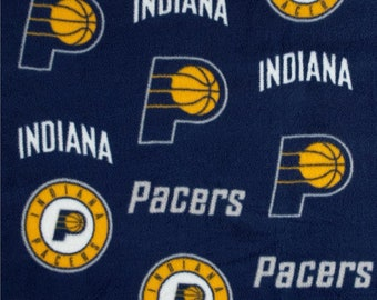 Personalized Indiana Pacers Basketball Plaid Fleece and Minky Baby Blanket