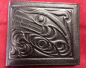 Northwest Indian Wolf Wallet Made From Genuine Leather