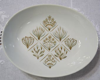 Vintage Garden Terrace Oval Vegetable Bowl Harmony House Flowers Leaves Green Brown Replacement PanchosPorch