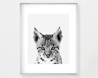 Bobcat Art, Woodlands Nursery, Woodlands Decor, Nursery Art, Nursery Prints, Bobcat Print, Animal Wall Art, Printable Poster, Gender Neutral