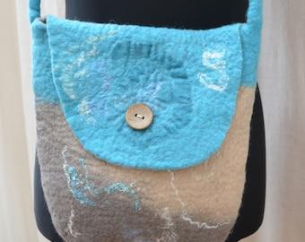 Felted shoulder bag purse turquoise beige wet felted