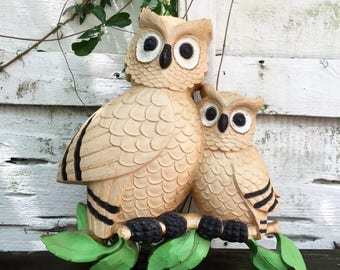 Owls by Homco Molded Plastic Wall Hanging 1976 Vintage