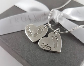 Handprint jewellery- baby or child's actual hand or footprint, captured in sterling silver, heart shape, sterling silver chain