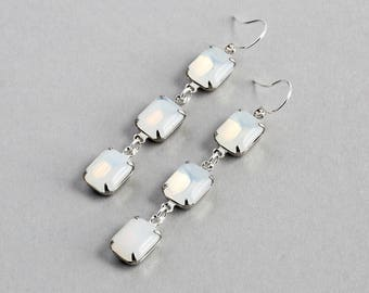 White Dangle Earrings, Opalescent Rhinestone Earrings on Silver Plated Hooks, Vintage Glass Stone, Fashion Jewelry
