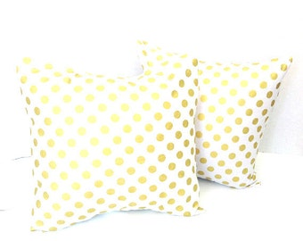 Metallic Gold - White - Gold Dot Pillow Covers - Christmas Throw Pillow Cover - Cushion Cover Set of Two Square, Lumbar, Euro Choose Size