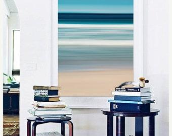 Large Abstract Beach Wall Art, Nautical Coastal Decor, Cape Cod Martha's Vineyard Beach Photography, Ocean Waves Photo, Blue Teal Aqua Beige