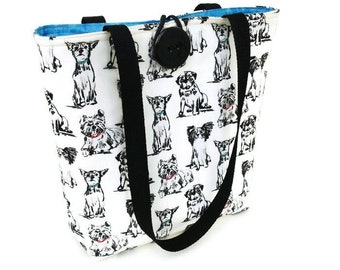 Fabric handbags, Cotton fabric purses, Vegan bag, Dog tote bag, Black white purse, Shoulder bag women, Knitting bag, Project bag