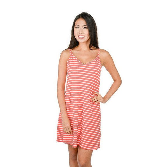 Coral Stripe Sundress