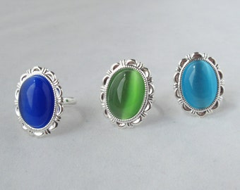 Cat's Eye Adjustable Costume Jewelry Ring with three color options