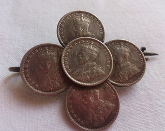 Vintage sterling silver five Anna coin brooch