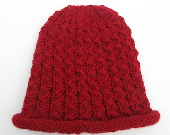 Red Hand Knit Faux Cabled Hat, Beanie for Men, Teens, or Women