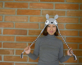 Gray Totoro Hat with Earflaps in Crochet