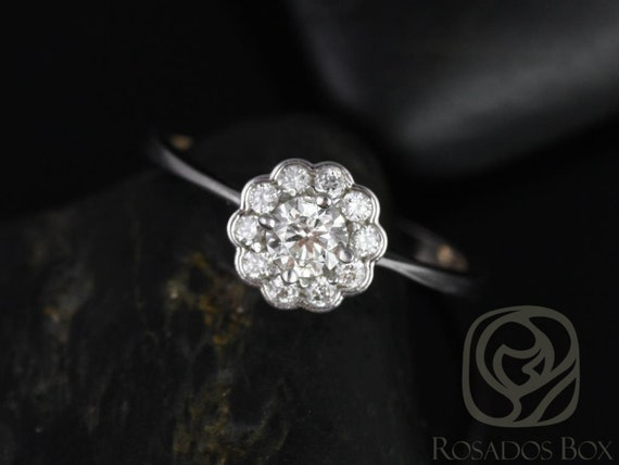 Rosados Box Conflict Free Magnolia WITHOUT Hand Milgrain Beading 14kt Floral Diamonds Cluster Engagement Ring