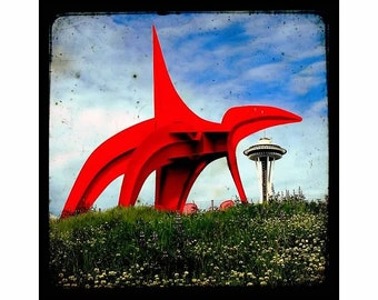 Space Needle and the Eagle, Seattle Landmark,  Affordable Urban Décor, TTv Inspired 8x8 UNMATTED fine art print