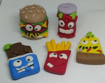 Fondant Grossery Gang Cake Toppers - Grossery Gang - Birthday Cake Topper - Kids Birthday - Hamburger - Fries - Pizza - Soda - Chocolate