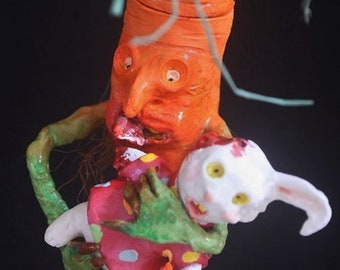 Carrot & Easter Bunny Candy Container HAB Mache