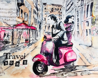 Italy Original Watercolor Painting, Romantic Travel Illustration by Lana Moes, Wanderlust, Roman Holiday, Romantic Bliss, Vacation Mementos